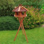 Wood bird feeder wood bird house small hexagonal solar and light 06-0976 Wood bird feeder wood bird house small hexagonal solar and light 06-0976