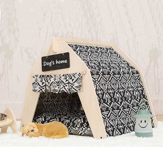 Waterproof Dog Tent: OEM 100% Cotton Canvas Pet Teepee Tent Colorful Wave Collapsible 06-0963 Waterproof Dog Tent: OEM 100% Cotton Canvas Pet Teepee Tent Colorful Wave Collapsible 06-0963